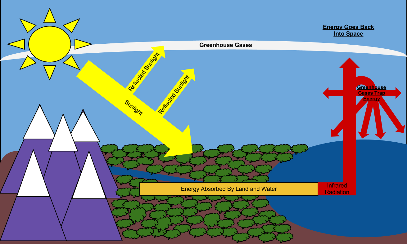 Draw a diagram that depicts the greenhouse effect